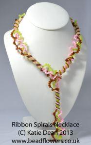 Spiralling Ribbons Necklace Pattern, Katie Dean, Beadflowers