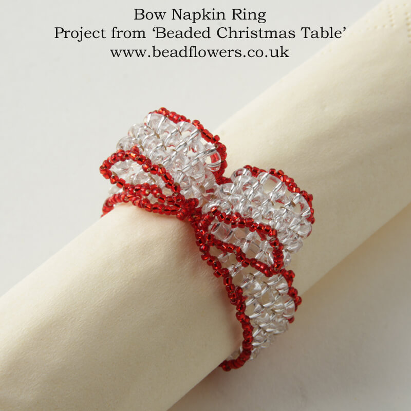 Beaded Napkin Rings Pattern, Beaded Christmas Table, Katie Dean, Beadflowers