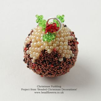 Beaded Christmas Decorations, beaded Christmas pudding pattern, Katie Dean, Beadflowers