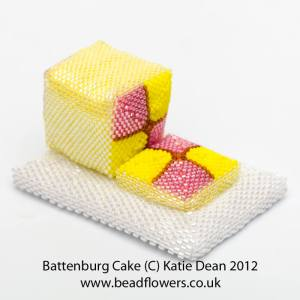 Battenburg cake, Sweet Treats book, Katie Dean, Beadflowers