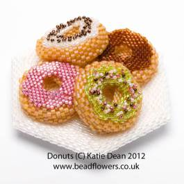 Plate of Donuts, Katie Dean, Beadflowers, my marvellous diet: yummy and calorie-free