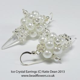 Ice Crystal Earrings Pattern, Katie Dean, Beadflowers