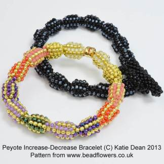 Beginner's Peyote Increase Decrease Bracelet Pattern, Katie Dean, Beadflowers