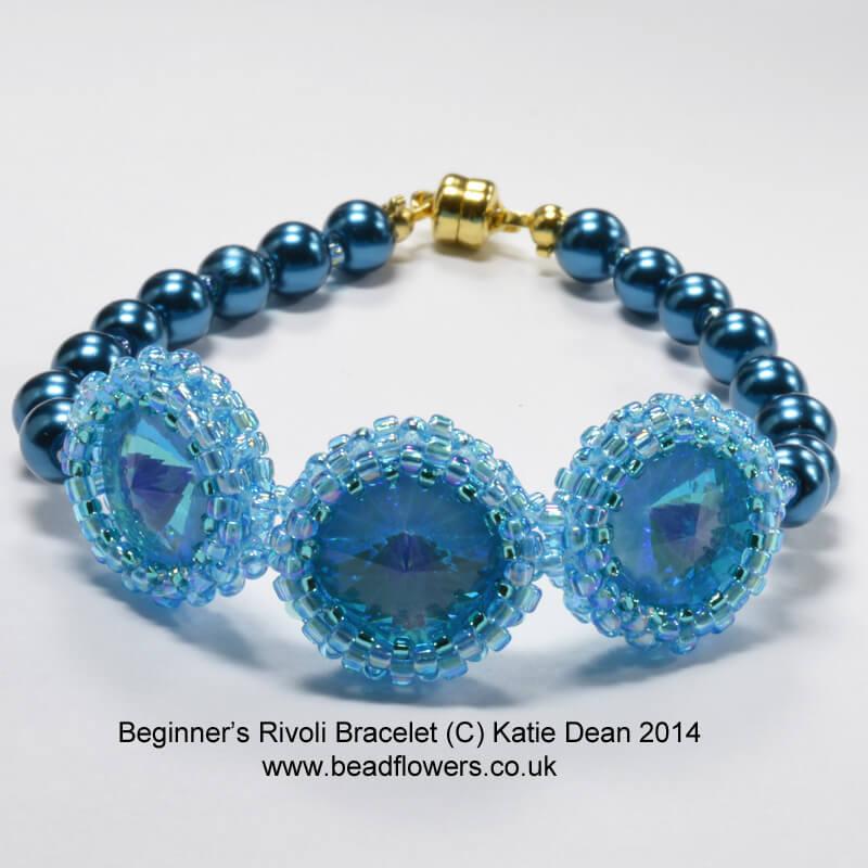 Crystal Rivoli and Pearls Bracelet Pattern, Katie Dean, Beadflowers