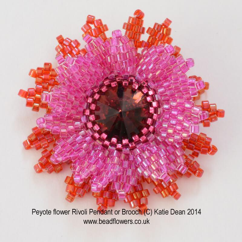 Rivoli Peyote Stitch Flower Pendant Pattern, Katie Dean, Beadflowers