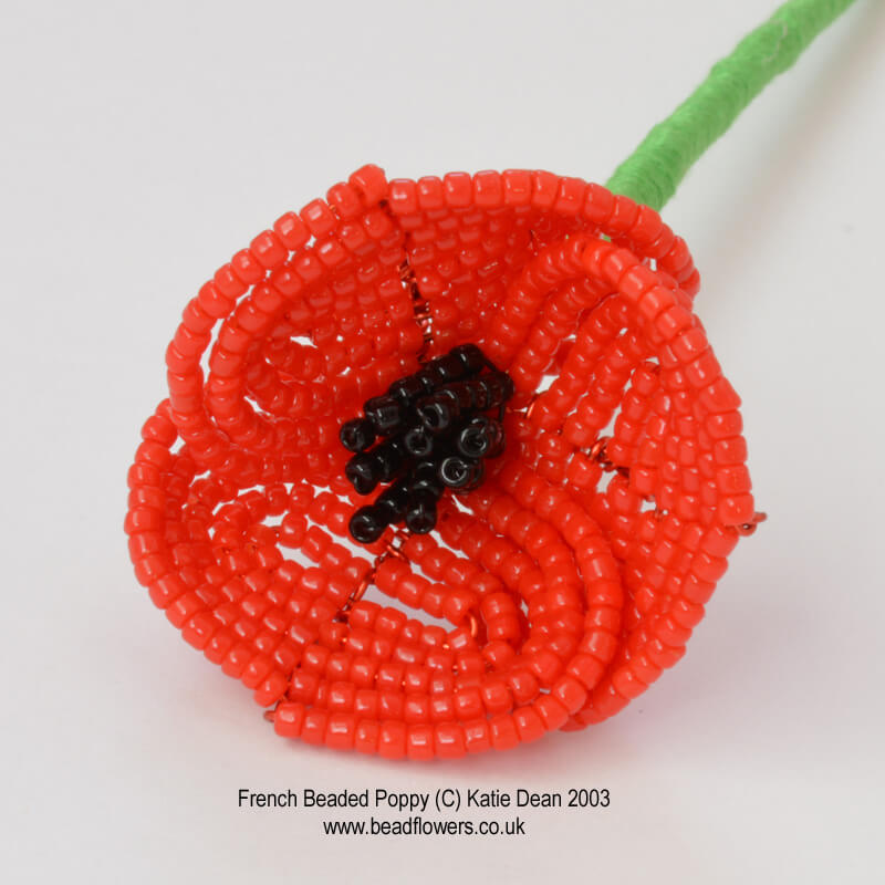 French beaded poppy pattern, beaded poppy brooch kit