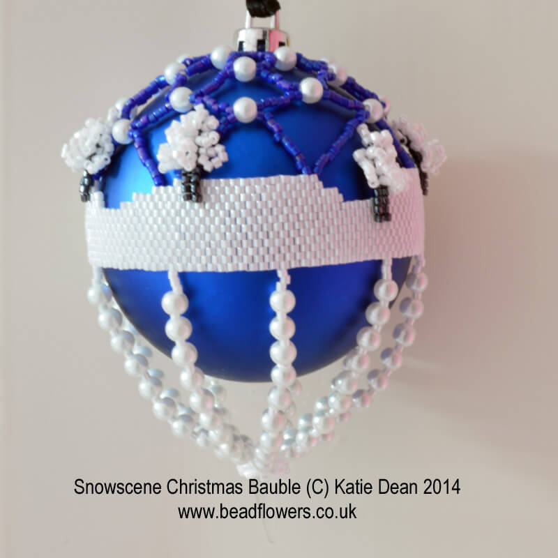Snowscene Beaded Baubles by Katie Dean, Beadflowers, Beading Project Ideas