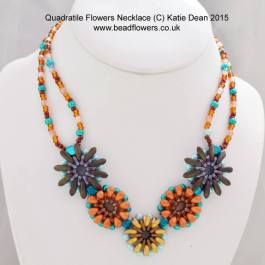 Quadra Tiles bead flower necklace pattern by Katie Dean, Beadflowers