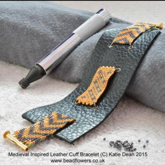 Leather cuff bracelet pattern, Katie Dean, Beadflowers