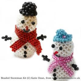 Beaded Snowman pattern and Kit, Katie Dean, Beadflowers