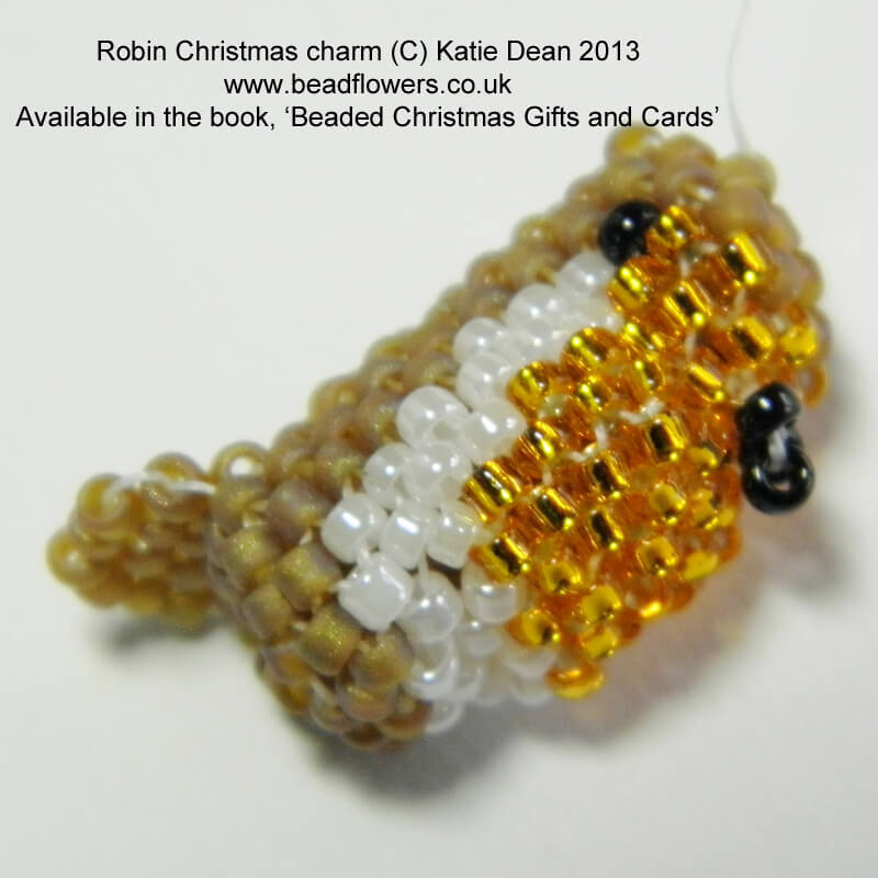 Beaded Robin Pattern, Beaded Christmas Gifts and Cards Ebook, Katie Dean, Beadflowers
