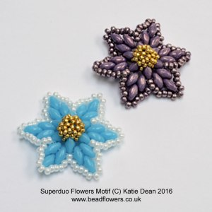 Superduo Flower Motif Pattern, Katie Dean, Beadflowers