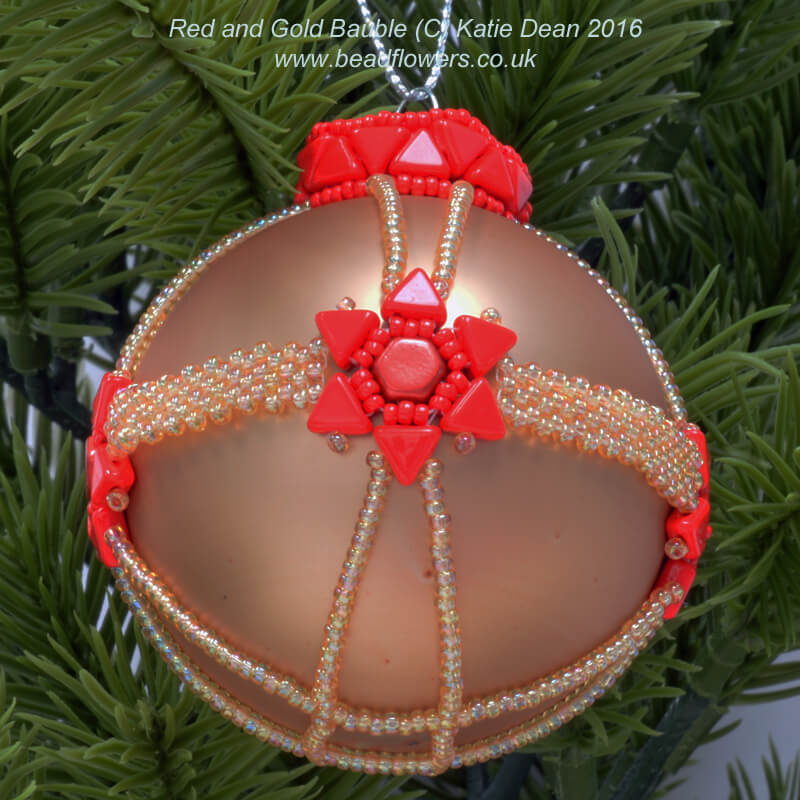 Beaded Bauble: Red and Gold Design