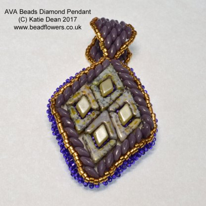 AVA bead embroidery pendant