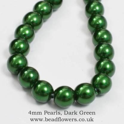 4mm pearls, dark green, Beadflowers, Katie Dean