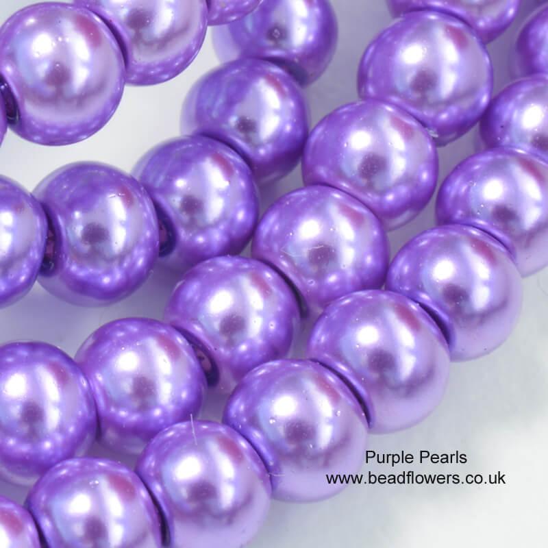 4mm pearls in purple