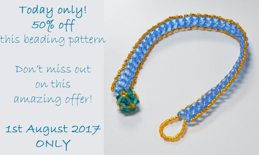 Beginner's Pattern for Herringbone Stitch with Twin Hole or Superduo beads, by Katie Dean, Beadflowers
