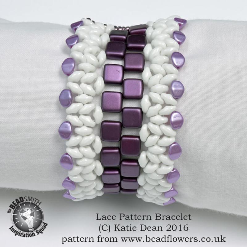 Lace Pattern beaded bracelet by Katie Dean, beadflowers