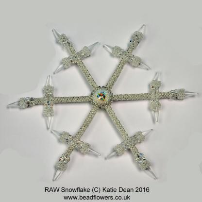 Seed Bead snowflake pattern, Katie Dean, Beadflowers