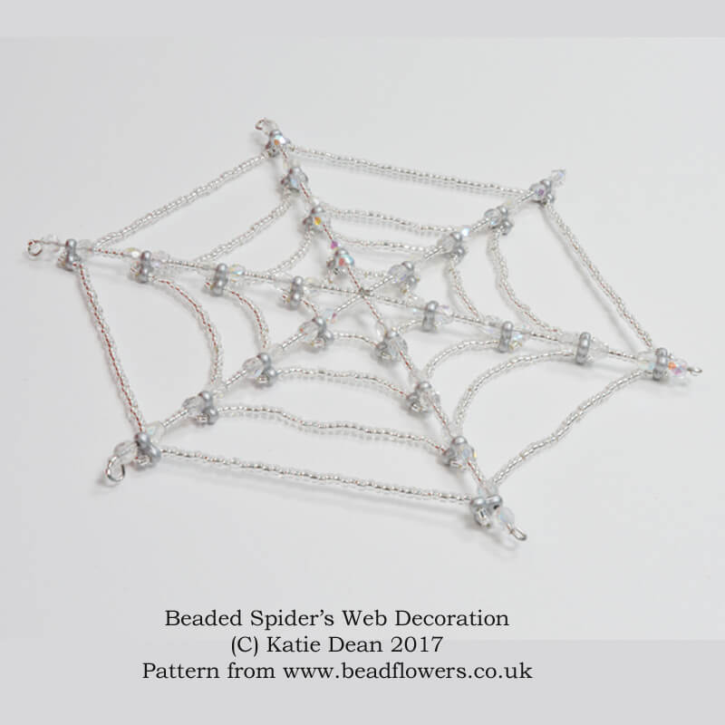 Beaded spider web pattern for a halloween decoration, Katie Dean, Beadflowers