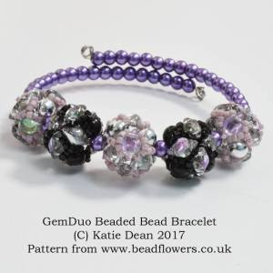 GemDuo Beaded Bead Bracelet Pattern, Katie Dean, Beadflowers