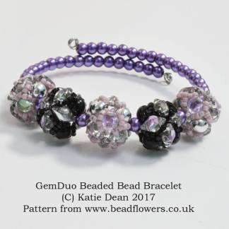 GemDuo Beaded Bead Bracelet Pattern, Katie Dean, Beadflowers