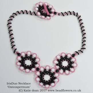 IrisDuo Necklace Pattern: Osteospermum, Katie Dean, Beadflowers