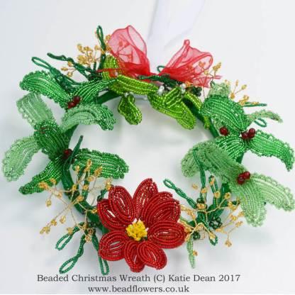 How to make a beaded Christmas Wreath, Katie Dean, Beadflowers