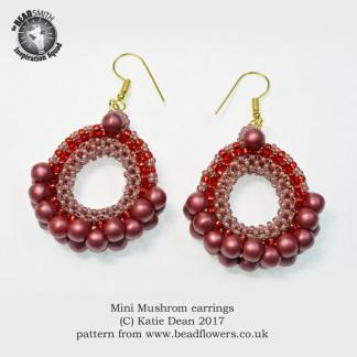 Mushroom Bead Earrings Pattern, Katie Dean, Beadflowers