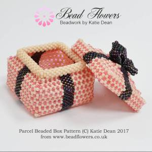 Parcel Beaded Boxes Pattern, Katie Dean, Beadflowers, Beaded Gifts