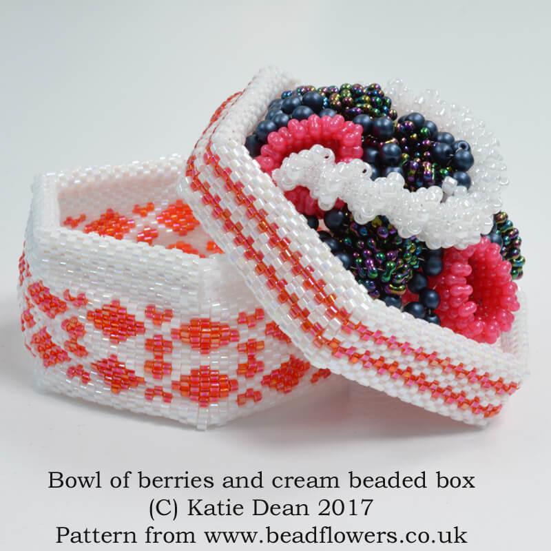 Berries and Cream Bowl Beaded Box Pattern, Katie Dean, Beadflowers