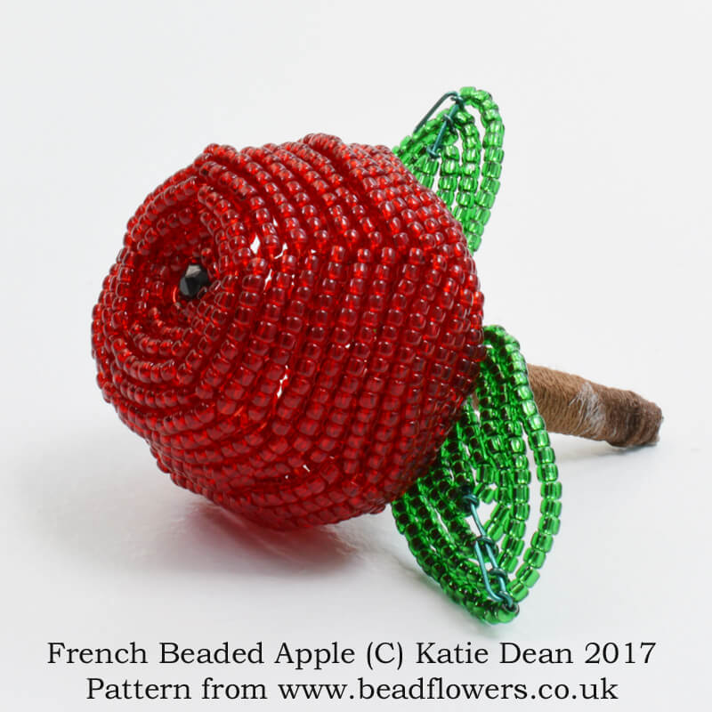 French beaded apple tutorial, Katie Dean, Beadflowers