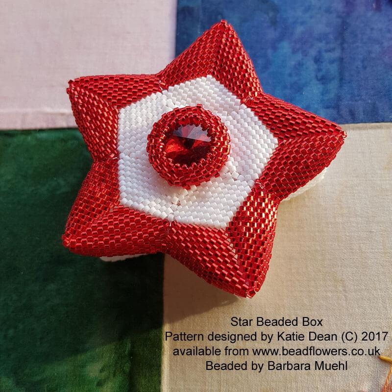 Star Beaded Box Pattern by Katie Dean, Beadflowers