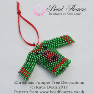 Beaded Christmas Jumper Tree Decoration Pattern, Katie Dean, Beadflowers
