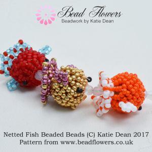 Netted Fish Beaded Beads Pattern, Katie Dean, Beadflowers
