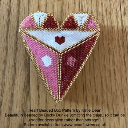 Heart Beaded Box Pattern, Katie Dean, Beadflowers, Beaded by Becky Dunkle