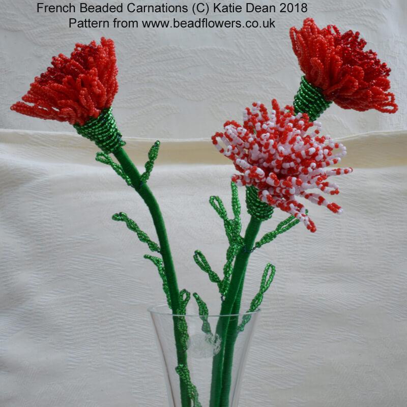 French Beaded Carnation Pattern, Katie Dean, Beadflowers