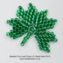 Beaded Four-Leaf Clover Charm Pattern, Katie Dean, Beadflowers