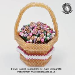 Flower Basket Beaded Box Kit and pattern, Katie Dean, Beadflowers