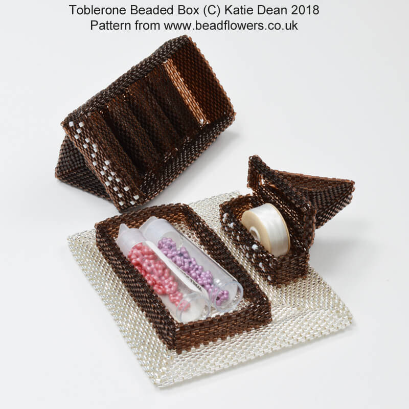 Toblerone Beaded Ornament Box Pattern, Katie Dean, Beadflowers