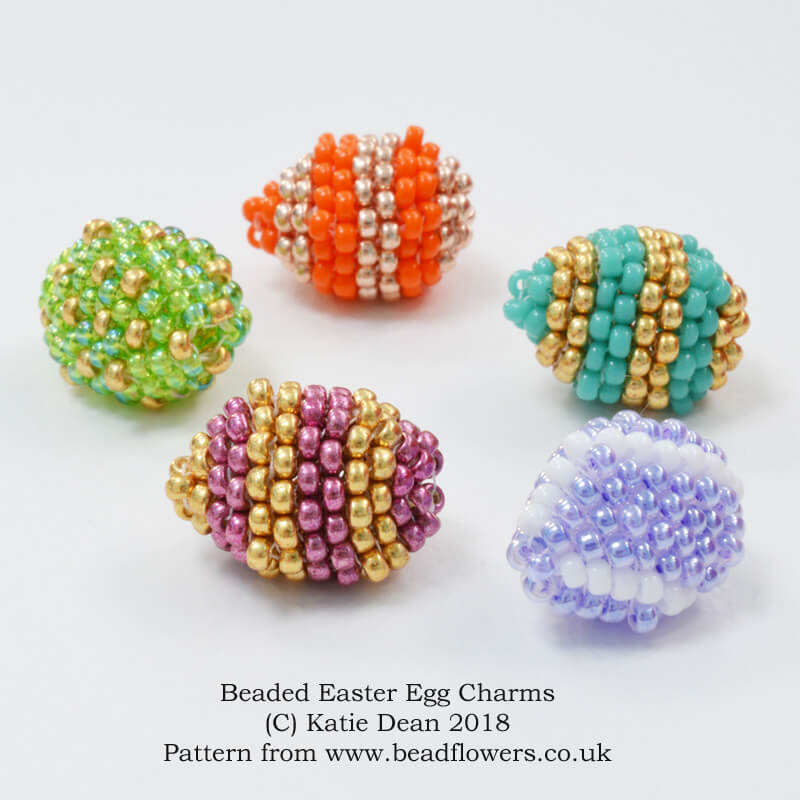 Beaded Easter Eggs Charm Jewellery Pattern, Katie Dean, Beadflowers