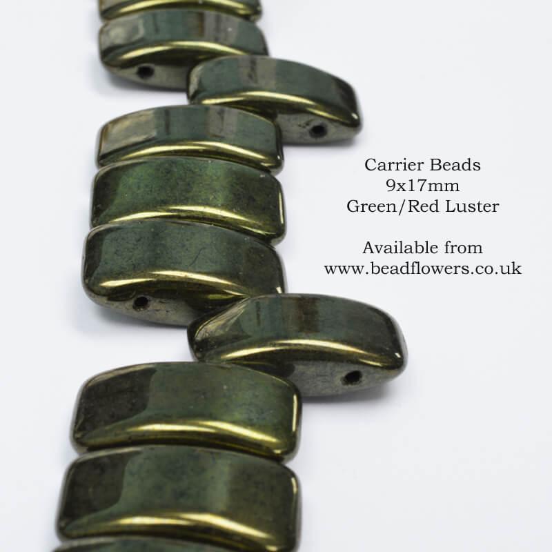 Carrier Beads UK stockist, 8x17mm, choice of colours, Katie Dean, Beadflowers