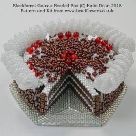 Blackforest Gateau Beaded Box Kit and Pattern, Katie Dean, Beadflowers. How to bake black forest cake
