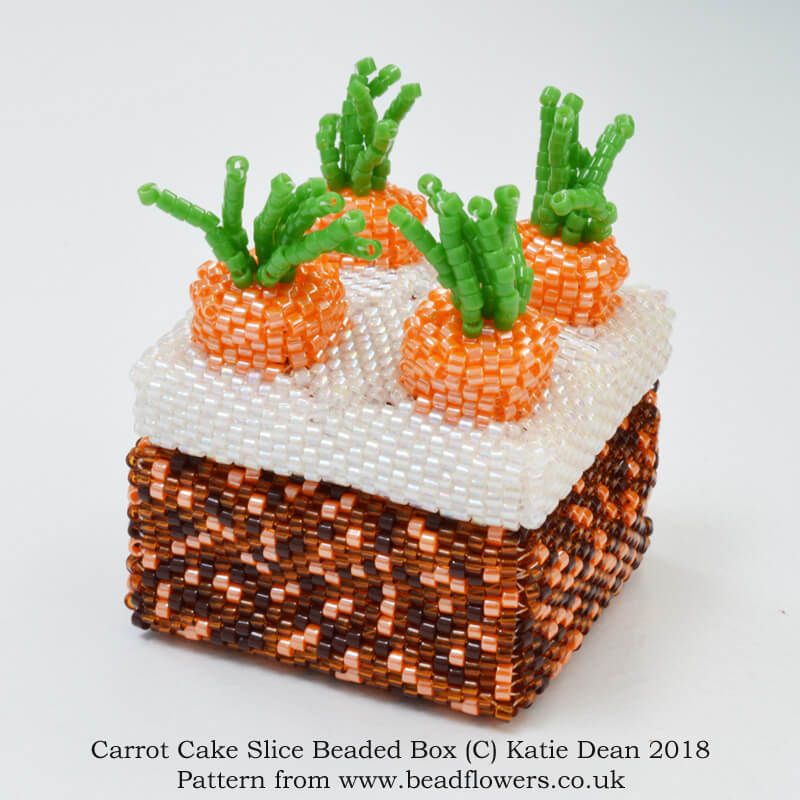 Carrot Cake Slice Beaded Box Pattern, Katie Dean, Beadflowers