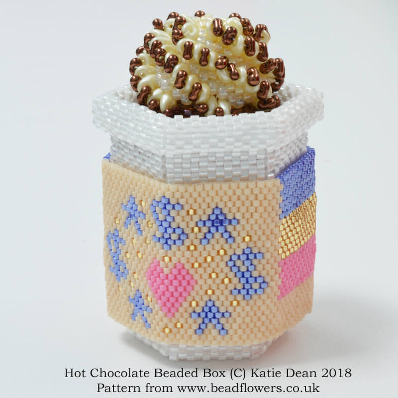 Hot chocolate beaded box pattern, Katie Dean, beadflowers