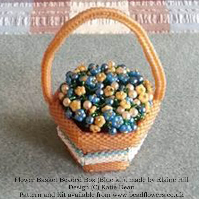FLower Basket Beaded Box Kit and Pattern, Blue Variation, Beaded by Elaine Hill, Design Katie Dean, Beadflowers