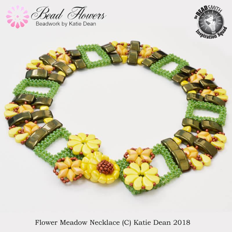 Flower Meadow Necklace: carrier beads pattern, Katie Dean, Beadflowers