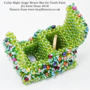 Cubic Right Angle Weave Box, Tooth Fairy Pattern, Katie Dean, Beadflowers
