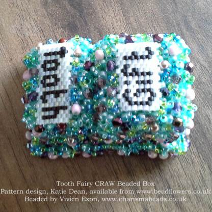 Cubic Right Angle Weave Tooth Fairy beaded box, Katie Dean, Beadflowers