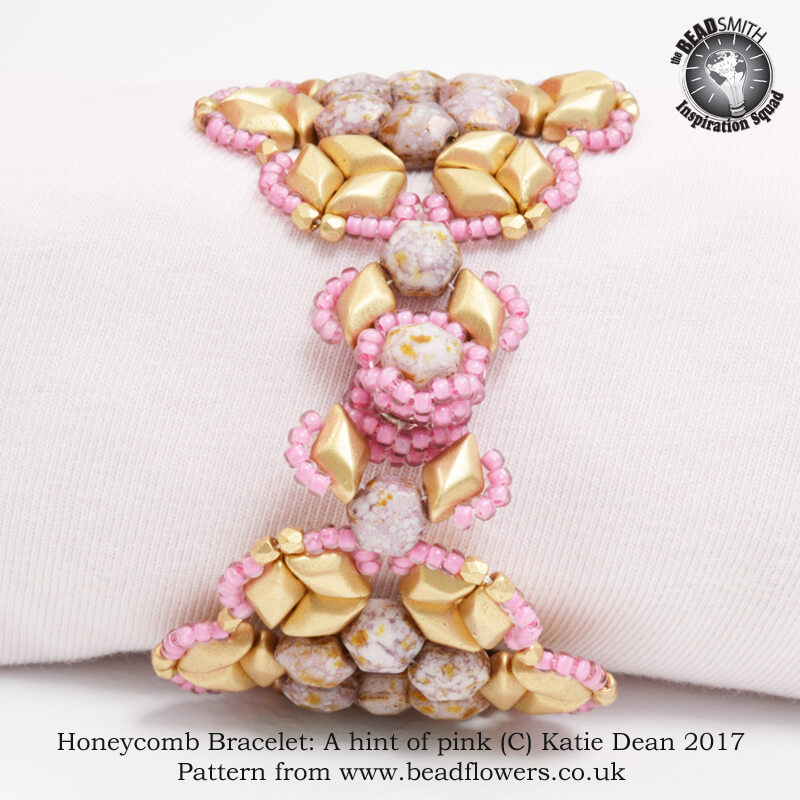 Honeycomb Bracelet: A hint of pink, Katie Dean, Beadflowers